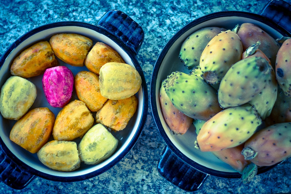 Peeled and not peeled Fichi d'India - prickly pear fruits