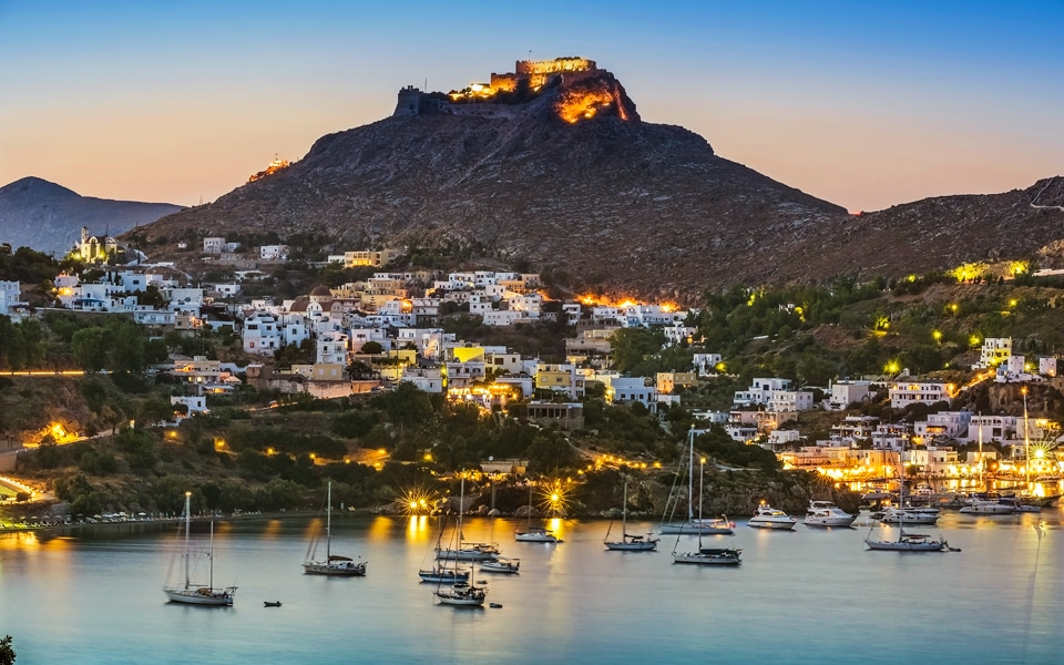 leros-greece-by-night-with-view-of-the-castle