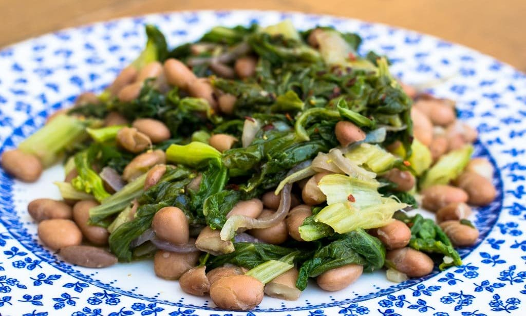 Pinto beans and greens