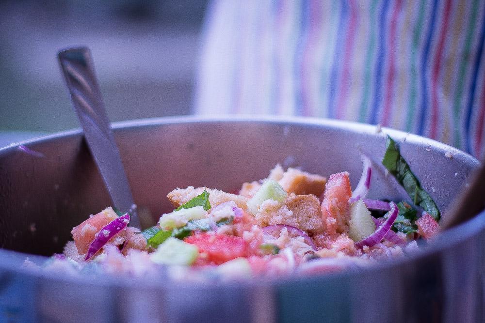 Mixing Panzanella Ingredients