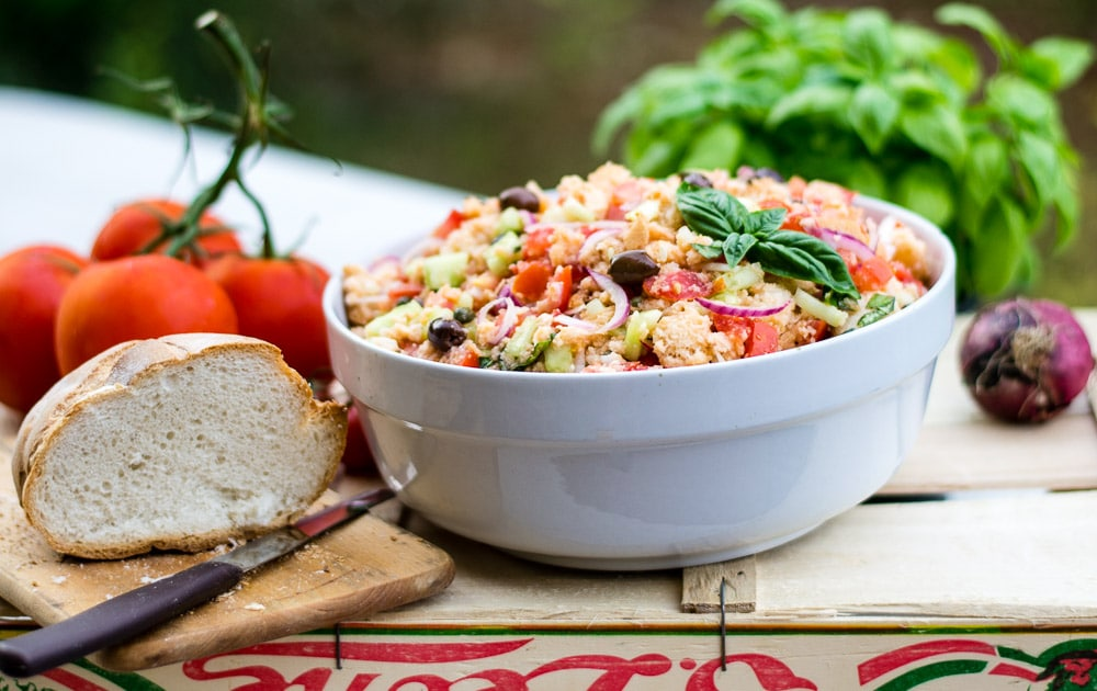 Panzanella Tuscan Tomatoes And Bread Salad with ingredients