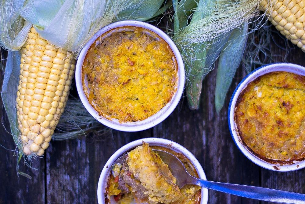 Corn topped chilean vegan sheperd's pie