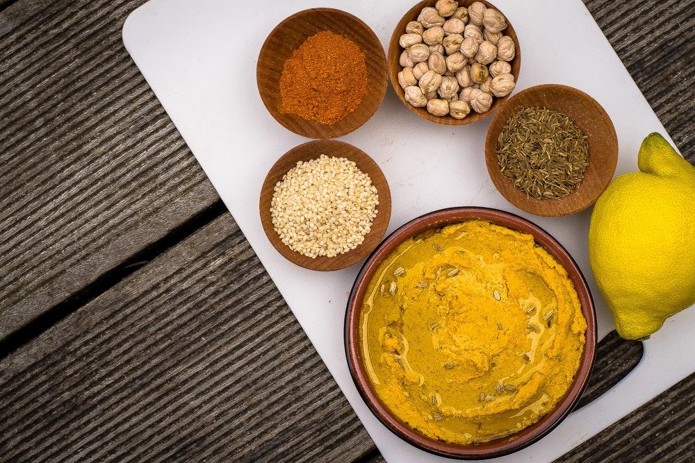Homemade curry hummus