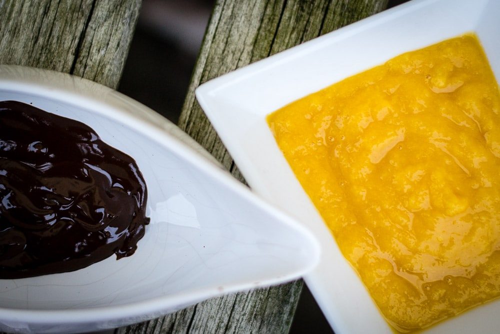 Melted chocolate and mango puree