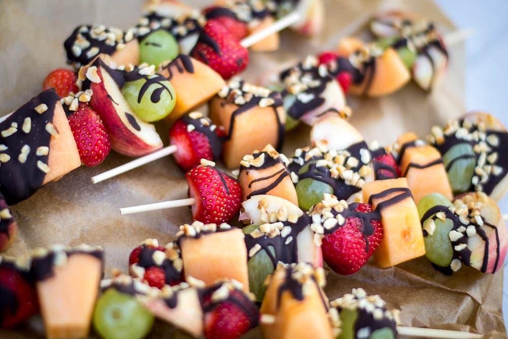 Hazelnuts and dark chocolate fruit kebabs