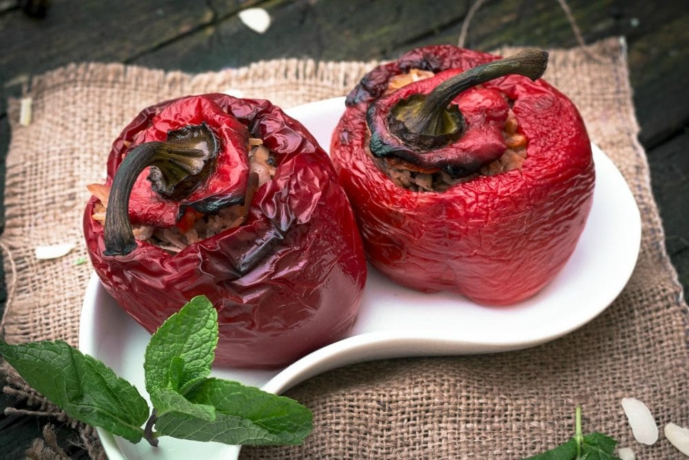Vegetarian Yemista - Greek stuffed peppers