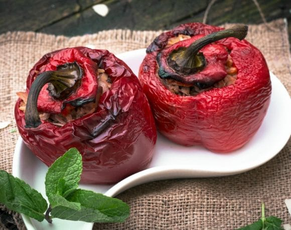 Vegetarian Yemista (Greek Stuffed Peppers)