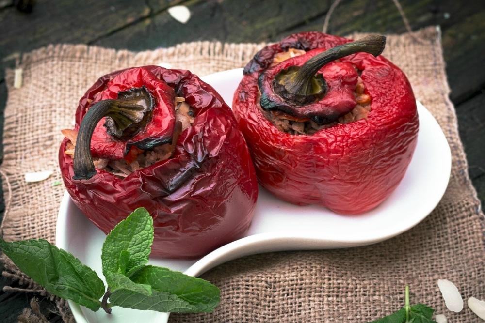 Vegetarian Yemista - Greek stuffed peppers