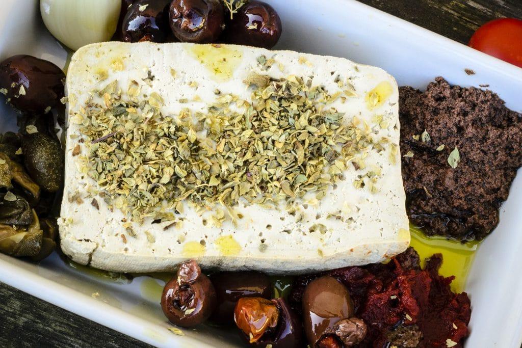 Ingredients for mediterranean-style pan-fried tofu